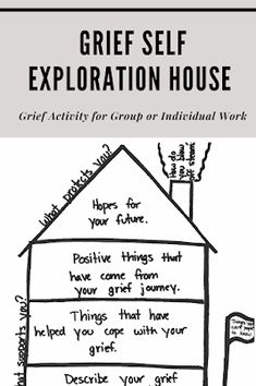 Using the DBT house activity in grief group. Grief Activities, Group Therapy Activities, Therapy Worksheets, Counseling Activities, Grief Counseling, Mental Health Counseling, School Counseling, Trauma Therapy, Behavioral Therapy