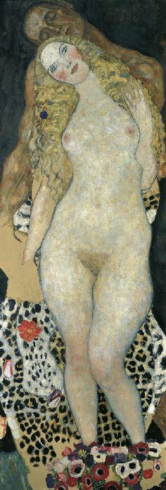 Adam und Eva  1917/18  Oil on canvas, incomplete 173 x 60 cm