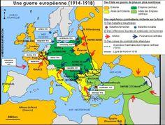 Carte des zones de front en Europe pendant la Première Guerre mondiale (1914-1918). Source:© HISTGEOGRAPHIE.COM