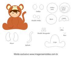 Molde de Animais Baby - Macaco - para Feltro, EVA e Artesanato, Molde de Animais Baby - Macaco - para EVA, Feltro e Artesanato, Animal Baby