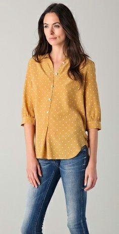 Jeans + yellow polka dot blouse