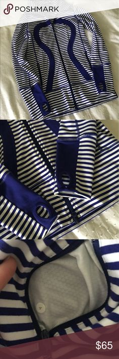 Lululemon in stride jacket 4 Euc size 4 in stride blue pigment and white striped jacket . Thumbholes, confirmed size 4. lululemon athletica Jackets & Coats