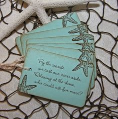 By The Sea Beach Wedding Tags by TorisCustomCreations* Can be used as place settings, table cards, or table decor.