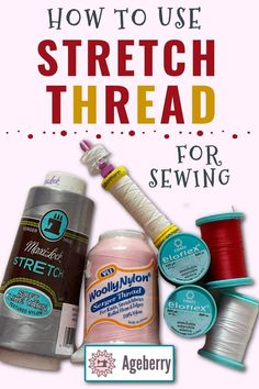 Learn about the different types of stretch thread and how to use them for your beginner sewing projects. Stretchy sewing threads like Eloflex, Wooly Nylon and Elastic are used in a variety of sewing projects. This tutorial will help you find out which type is best for your project and teach you all about how to sew with elastic thread! Sewing For Beginners Diy, Sewing For Dummies, Sewing Basics, Serger Thread, Elastic Thread, Easy Sewing Patterns, Sewing Tutorials, Textured Yarn, Stretch Fabric