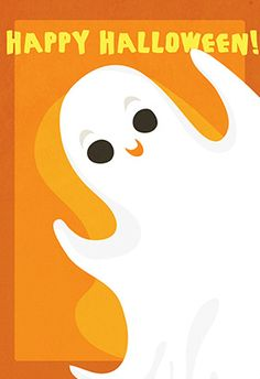 """""""Halloween ghost"""" printable card. Customize, add text and photos. print for free!"""