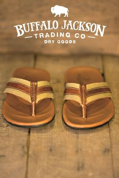Mens casual sandals. Constructed of waxed canvas and tumbled bison leather. Mens casual summer style must-have.