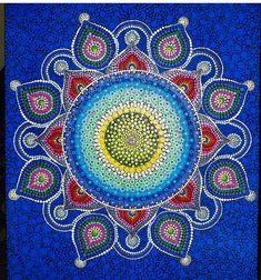 24x36 Dot Art Mandala on Canvas. Every item is fully customizable with colors, foundation, and size. Larger sizes will increase the cost. Clear U/V and water protected
