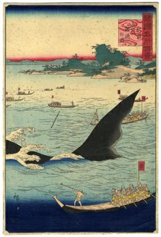 Whale hunting at the island of Goto in Hizen by Hiroshige, 1859 Art Print by Vintage Japan - X-Small Japanese Woodcut, New Fine Arts, Art Japonais, Japanese Painting, Japanese Prints, Japan Art, Woodblock Print, Traditional Art, Hunting
