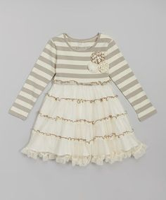 Another great find on #zulily! Cream Lace Tiered Dress - Infant, Toddler & Girls by Mustard Pie #zulilyfinds