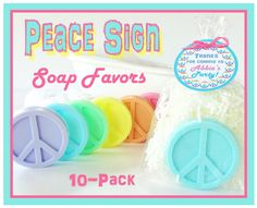 Great party favor to teens or tweens!- 10 PEACE SIGN Soap Birthday Party Favor Pack  by crimsonhill, $27.00