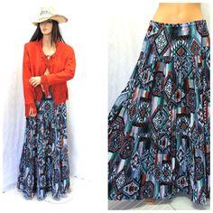 Vintage Southwestern broomstick skirt S / M by SunnyBohoVintage