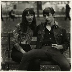 Diane Arbus - Young Couple on a Bench in Washington Square Park, N.Y.C., Photograph