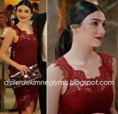 Medcezir - Eylül (Hazar Ergüçlü), Burgundy Dress please follow me,thank you i will refollow you later