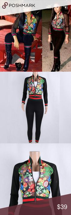 ffe74d37fc1 Mesh Sheer Bomber Jacket Legging Set Boutique