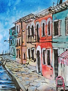 Venedig. Strassenansicht / Acryl & Aquarell, Tusche, 30 x 40 cm, 2015 Watercolor Painting, Perspective, Venice Italy, Painting, Photo Illustration, Ideas