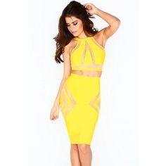 Yellow Strap Two-Piece Skirt Set LAVELIQ