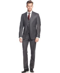 Kenneth Cole Reaction Grey Stripe Vested Slim-Fit Suit - Shop All Suits - Men - Macy's