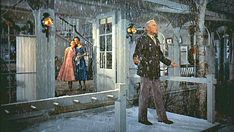 """White Christmas"" movie house -  Columbia Inn snow.  The General opens the door and walks outside, amazed that it's snowing at last:  Pinned from Hooked on Houses by Julia, 12-25-2015."