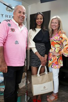 Michael Schoonewagen, Zoe Saldana and Tracey Fentem visit the Stella Artois Suite during The 66th Annual Cannes Film Festival at Radisson Blu on May 20, 2013 in Cannes, France.