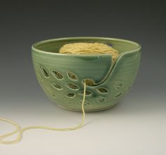Yarn Bowl in Green Carved Leaf Pattern by AAslaksonPottery on Etsy, $48.00