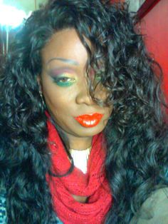 ExtraVirginHair.com Raw Virgin Wavy Curly. BH cosmetic eye palete No 2 and Covergirl Queen Collection lip in Paint The Town.