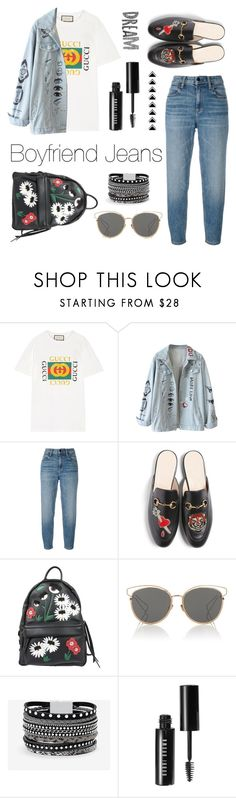 """""""boyfriend jeans"""" by madedinorog ❤ liked on Polyvore featuring Gucci, Alexander Wang, Chiara Ferragni, Christian Dior, White House Black Market and Bobbi Brown Cosmetics"""