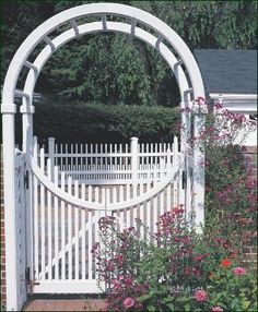 Custom Spindle Arbor with Gates - Introduce a pair of concave Chestnut Hill gates and our cedar Standard Arbor is transformed into a distinctive and bright entranceway.