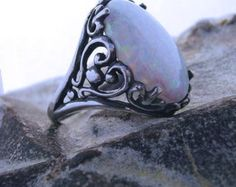 14x10mm Lab Created white Opal Ring Openwork Heart Scroll sterling silver size 4 5 6 7 8 9 10 11 1/2 sizes handmade fine jewelry filigree