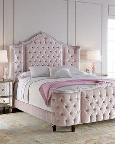 Girl Bedroom Designs, Bedroom Themes, Bedroom Decor, Master Bedroom, Tufted Bed, Upholstered Beds, King Beds, Queen Beds, Capitone Sofa