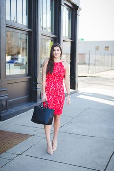 Backless dress, red dress, little red dress, lace dress, Valentine's Day dress, Valentine's Day outfit, lace midi dress // grace wainwright from a southern drawl