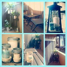 Hobby Lobby and Target. Lantern, candles, sand, metal planters, jars all under $150. Balcony decor.