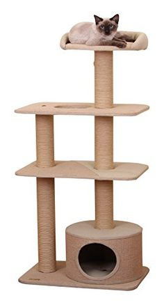 PetPals Group 4 Level Playhouse Condo Cat Tree -- Visit the image link more details. (This is an affiliate link and I receive a commission for the sales) Cat Tree Condo, Cat Condo, Cat Activity, Cat Store, Cat Towers, Cat Playground, Forest Cat, Cat Accessories, Mdf Wood