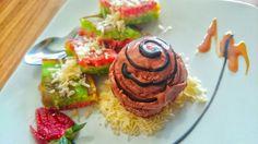 Rainbow pancake with ice cream chocolate n cheese