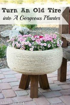 Outdoor Decorating/Gardening : This planter is GORGEOUS! The tutorial is simple to follow and it's hard to believe it's actually an old tire! #oldtiresturnnew #mydiscounttire #spon #discounttire #americastire -Read More –