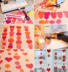 Diy, corações, decoração, papel colorido, cortinas de papel