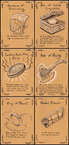 Cliffearts and magic items from their DnD game