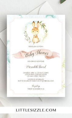 Spring baby shower invitation by LittleSizzle. What better way to celebrate the arrival of a spring baby then to host a bunny themed baby shower? We are absolutely dying over the darling little rabbit on this watercolor bunny invitation. With its neutral pastels, blush banner and watercolor background, this adorable baby shower invite is appropriate for baby girls as well as baby boys. Simply download, personalize and print. #spring #babyshower #babyshowerinvitations #DIY #printable…