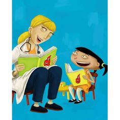 The doctors love their patients at Children's Hospital of Orange County. Illustrations for an advertising campaign. Agency: dGWB Advertising.