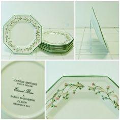 6 x Side Plates - Johnson Eternal Beau - 15cm Green Octagon Tea Salad FREE P&P 2