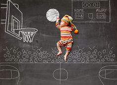 Backdrop Outlet posable baby backdrop basketball player Just lay the baby on the drop and shoot down on it. Only $25.00 for backdrop at backdrop outlet  #basketballbaby #backdropoutlet