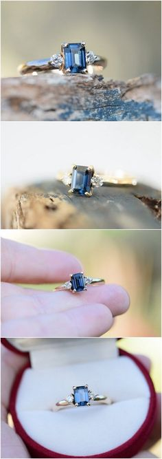 emerald cut sapphire white silver engagement ring / http://www.deerpearlflowers.com/emerald-cut-engagement-rings/2/