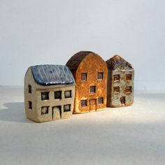 Miniature Village. Small Ceramic Houses. by BlueMagpieDesign