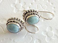 Dangle earrings Fashion gifts Bali 925 silver and Larimar drop stone. Gemstone Jewelry Larimar earrings / Graduation gift on Etsy, $60.00
