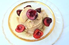 Banana Cinnamon ice cream with bing cherries on top. (Vegan) Swap cherries for different berries lol
