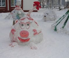 Winter crafts made of snow.