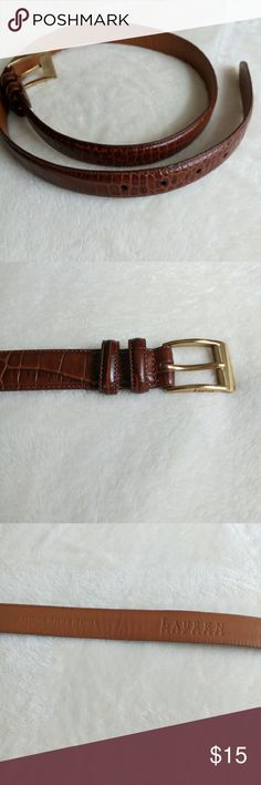 """Italian Leather Belt Authentic RL Ralph Lauren alligator embossed leather belt with brass looking buckle. Great condition!! Measuring 38"""" end to end x 1"""" wide. Buckle is 1.5"""" x 1.5"""". Holes measure 29.5"""", 30.5"""", 31.5"""" 32.5"""" and 33.5"""". This is a stiff leather belt for the classic look. I did not try to polish the brass. Ralph Lauren Accessories Belts"""