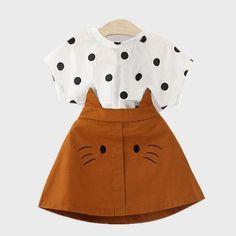 Toddler Girl Outfits Polka Dot Blouse and Cat Skirt Set Dresses Kids Girl, Little Girl Outfits, Toddler Girl Outfits, Little Girl Fashion, Baby Outfits Newborn, Toddler Fashion, Kids Outfits, Kids Fashion, Toddler Girls
