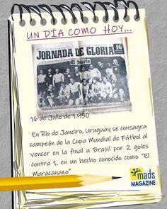 #UnDíaComoHoy El #13dejulio recordamos cómo la primera final de la Copa Mundial de fútbol tuvo lugar en #Uruguay en #1930... Hoy os traemos una de las grandes victorias de la #selecciónuruguaya, quien ganó a Brasil proclamándose campeona del mundo el #16dejulio de #1950. ¿Quieres revivir esos gloriosos momentos? ¡No te pierdas este artículo! #efemérides #efeméridesjulio #efeméridesdeldía #efeméridesdeportivas #fútbol #copadelmundo #mundial1950 #mundialRío #Maracanazo Event Ticket, Brazil, Uruguay