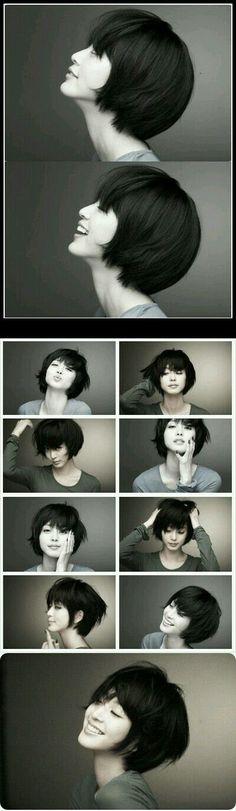 Cute Bob Hairstyles with Bangs 2019 - On Haircuts Girl Short Hair, Short Girls, Short Hair Cuts, Korean Short Hair Bangs, Short Bob Bangs, Short Bobs, Cute Bob Hairstyles, Hairstyles With Bangs, Haircuts