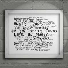 David Bowie Hunky Dory limited edition typography lyrics art print, signed and numbered wall art poster available from www.lissomeartstudio.com
